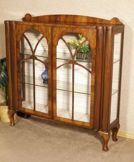 Antique English Walnut Art Deco 2 Door Curio Display Cabinet c1940 G06