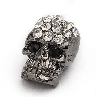 20pc Black Gun Metal Crystal Skull Bar Spacer Bead Charm 12x8mm C0557 1