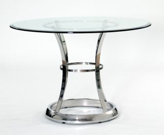 Transdeco 43 inch Stainless Steel Clear Tempered Glass Round Dining Table New