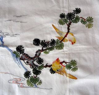 Pillow Case Embroidered Embroidery Birds on Tree White