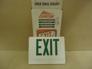 Quantum Lot of 4 Exit Signs White Green Lithonia EMPCB00110