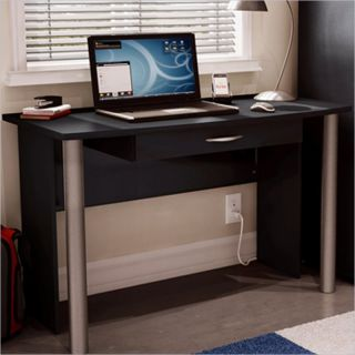 South Shore City Life Wood Black Finish Computer Desk