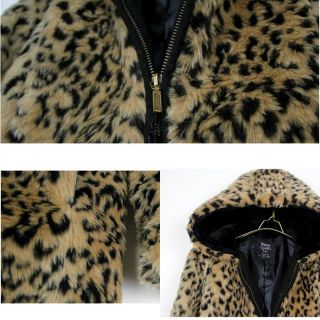 Chic Women's Leopard Print Faux Fur Coat Jacket Winter Warm Hooded Outerwear New