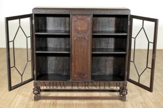 Antique English Oak Colonial 4ft Bookcase Display Cabinet c1920's P34