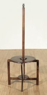 Vintage English Oak Art Deco Floor Lamp Table c1940 U36