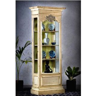 Old World Curio Glass Display Cabinet Bookcase Antique Washed Mahogany White New