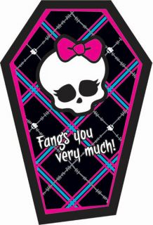 Monster High Thank You Notes 8 Cards Birthday Party Supplies Girl