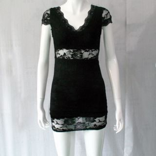 Elegant Womens Ladies Sexy Lace Low Neck Slim Elegant Mini Dress 2 Colors