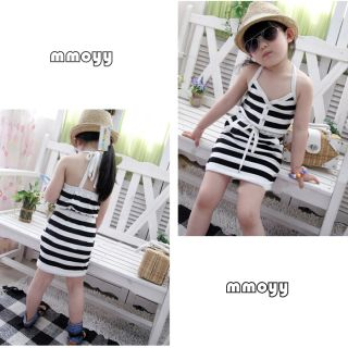 Cute Girl Kid's Clothing Outfit Party Slip Dress White Black Stripped Cotton