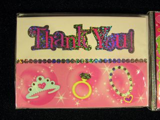 Pink Sparkly Princess Birthday Party Thank You Cards Crown Ring Necklace