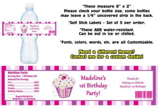 Lil' Lil Cupcake Printed Water Bottle Labels Birthday Party Favors Supplies