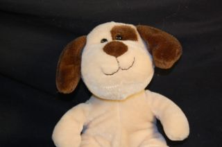 "8"" Cute Plush Tan Brown Spot Soft Lovey Puppy Dog Lovey Stuffed Animal Toy"