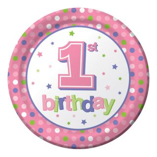Pink Dots 1st Birthday Dinner Plates Girls Polka Dot Birthday Party Supplies