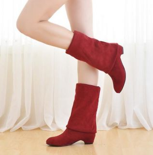New Women Knee High Boots Stretch Low Heel Comfort Shoes US All Sizes H32