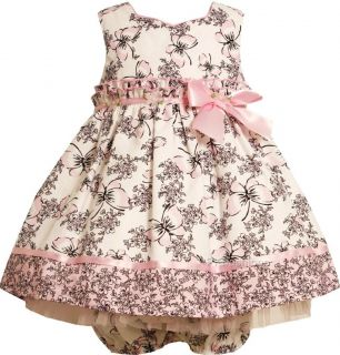 "New Baby Girls ""Pink Black Butterfly Toile"" Size 12M 2pc Dress Clothes"