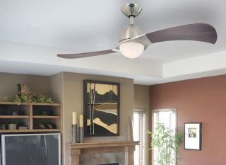 Solana Two Light 48 inch Two Blade Indoor Ceiling Fan Brushed Nickel Livingroom