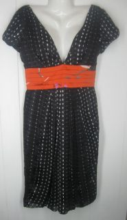 MaxMara Black White Orange Silk V Neck Cap Sleeve Dress