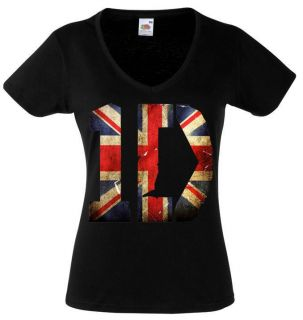 ONE DIRECTION LOGO 1 BLACK NEW LADY WOMEN T SHIRT V NECK FRUIT OF THE LOOM