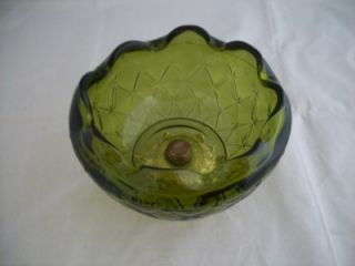 Vintage Princess House Green Glass Ruffled Candy Dish