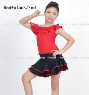 Kid Girl Latin Dance Dress Top Skirt Jive Rumba Child Ballroom Dance Costume
