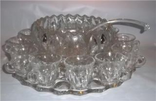 Indiana Glass Lotus Thumbprint Punch Bowl Set 12 Cups Bowl Under Plate Ladle