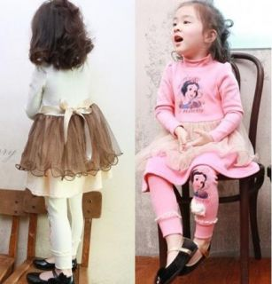 Kids Girls Long Sleeve Shirts Dress Leggings Outfit Cute Set 2 7Y