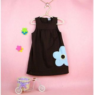 Cute Kids Girls Fashion Brown Flower Cotton Dress for Baby Girl 9 Months N4