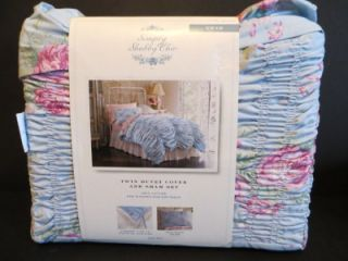 Simply Shabby Chic Twin Duvet Cover Sham Set Blue Pink Rose Ruched 060 17 0107