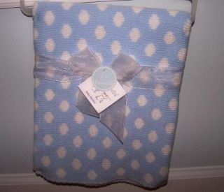 Polka Dot Baby Blue White Knit Blanket Kyle Deena Soft
