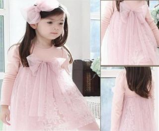 Toddlers Girls Lovely Bow Knot Top Princess Cotton and Tulle Dress 2 7Y Clothes