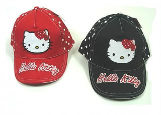 Girls Hello Kitty Black White Polka Dot Baseball Cap Hat