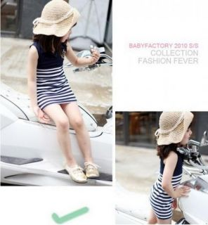 Girls Baby Kids Sailor Stripe 1pcs Top Dress 2 7Y Summer Cool Casual Clothes