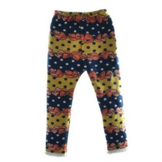 Girls Winter Warm Thick Leggings Fleece Lined Kids Bear Trousers Dot Pants 3 8Y