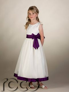 Girls Ivory Purple Flower Girl Dress Ivory Bridesmaid Dress Formal Dresses
