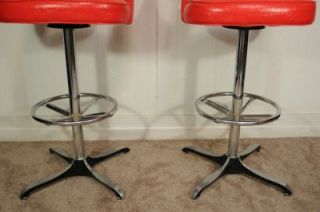 Pair Vtg Mid Century Modern Chrome Red Atomic Age Swag Leg Bar Stool Chair Retro