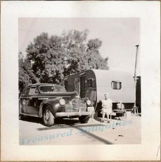 1940 Woman with Buick Sedan Travel camper Trailer Photo