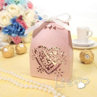 Sweet Love Heart Laser Cut Gift Candy Boxes with Ribbon Wedding Party Favor Bag