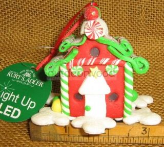 Kurt Adler Light Up LED Red Gingerbread House Decorated w Candy Ornament New