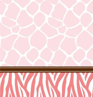 Wild Safari Pink Animal Print Baby Shower Table Cloth