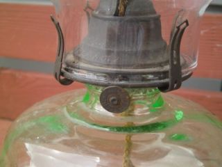 Depression Apple Green Glass Oil Lamp Light Kerosene Kero Queen Anne Burner