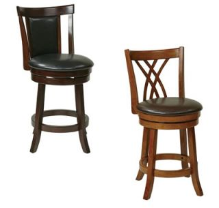 Metro 24H Swivel Bar Stool Wood Faux Leather Counter Pub Bistro Table Chair