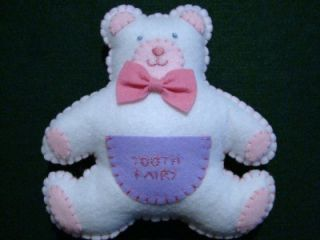 "Girls Hand Made White Felt Teddy Bear Tooth Fairy Pillow 6 1 2"" x 7"""