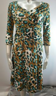 B Slim Women's PS Faux Wrap Dress Khaki Green Animal Print