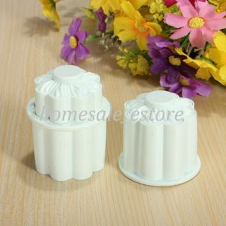 2pcs Flower Cake Plunger Fondant Decorating Cutter Cookie Sugar Craft Mould Mold