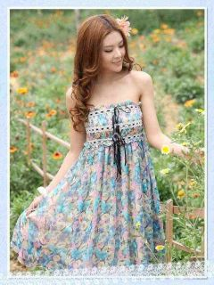 Women Chiffon Floral Spaghetti Strap Mini Pleated Dress Tiered Beach Loose Fit