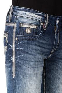 New Mens Rock Revival Jeans Marcy J Medium Wash Straight 34