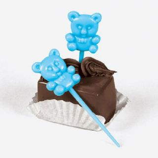 24 Blue Teddybear Toothpicks Baby Boy Shower Party Decorations