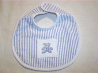 Adorable Blue Baby Bib w Cross Stitch Teddy Bear