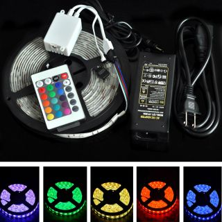 Full Kit 5M 10M 5050 RGB LED Strip Light Lights 24 44Key Remote Power Supply