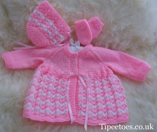Hand Knitted Baby or Reborn Clothes Knitted Matinee Coat Bonnet Mittens